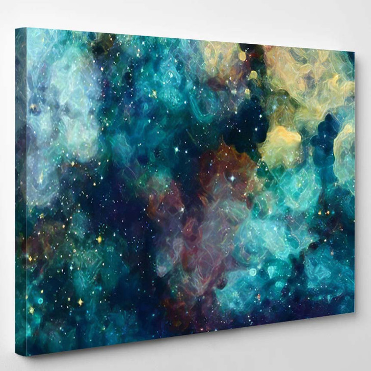 Abstract Star Field Galaxy Space Watercolor 4 - Galaxy Sky and Space Canvas Art Print