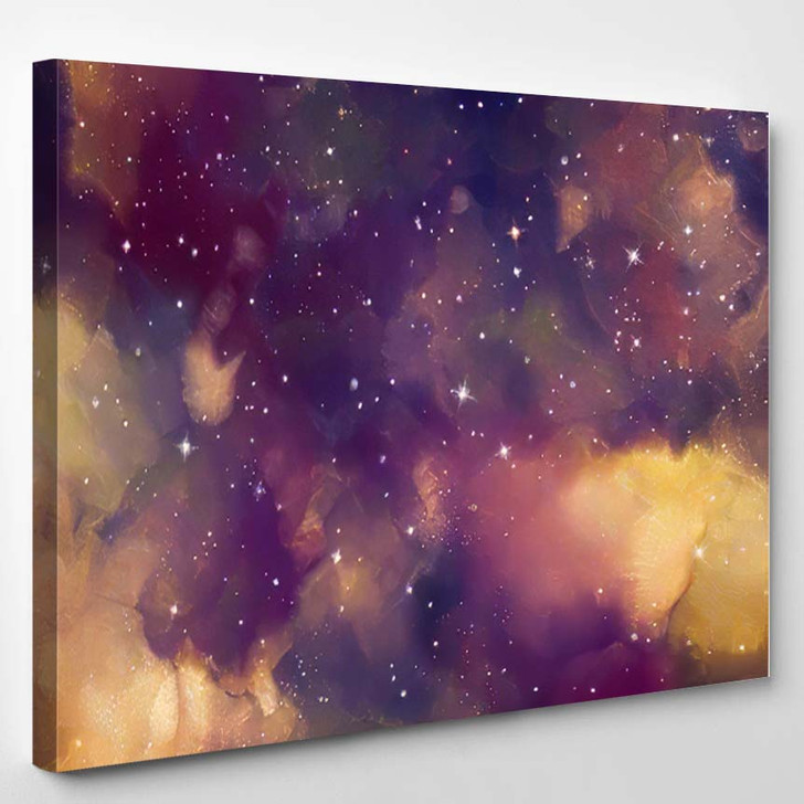 Abstract Star Field Galaxy Space Watercolor 5 - Galaxy Sky and Space Canvas Art Print