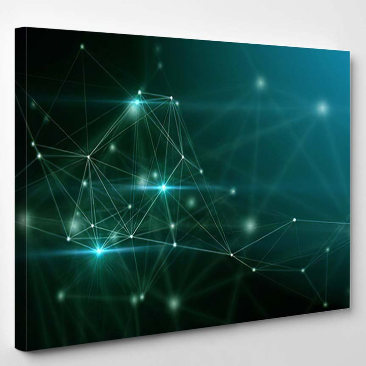 Abstract Technology Science Background Plexus Stylish - Galaxy Sky and Space Canvas Art Print