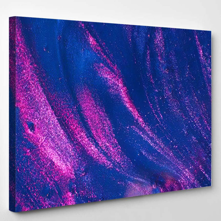 Abstract Textured Neon Gradient Blue Ultraviolet 1 - Galaxy Sky and Space Canvas Art Print