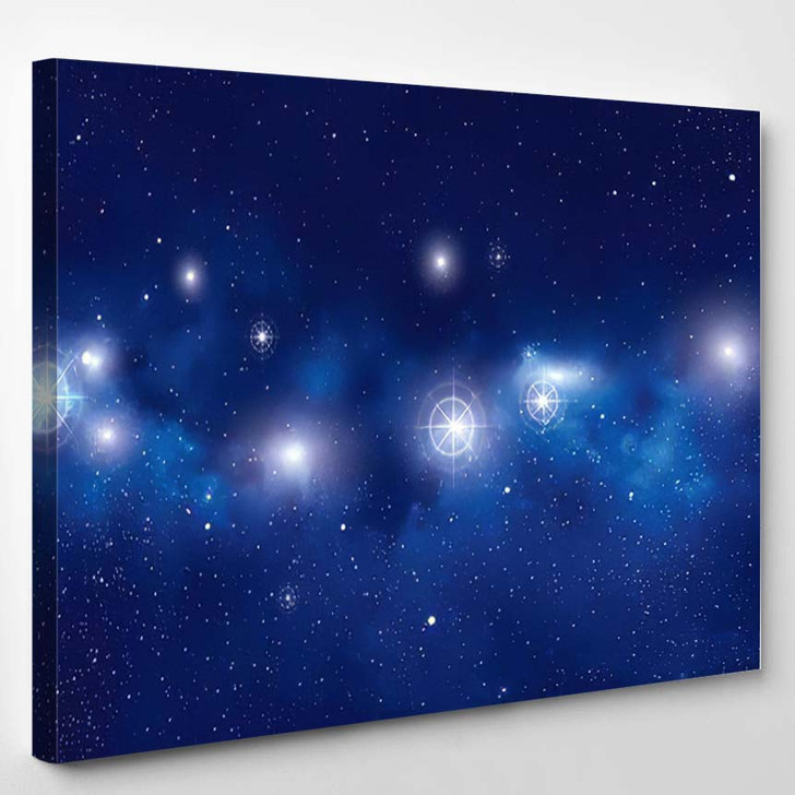 Abstract Vector Background Night Sky Stars - Galaxy Sky and Space Canvas Art Print