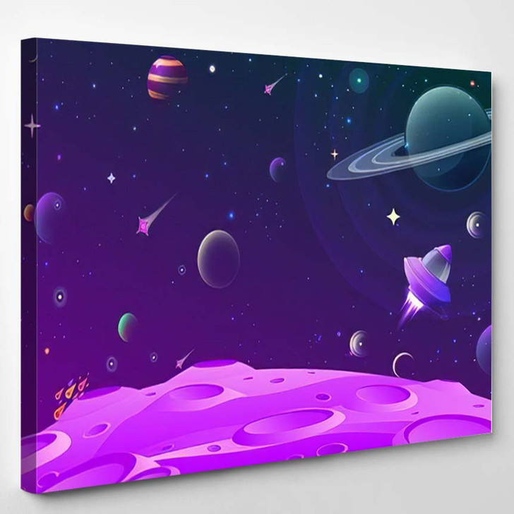 Abstract Vector Illustration Lunar Ground Open - Galaxy Sky and Space Canvas Art Print