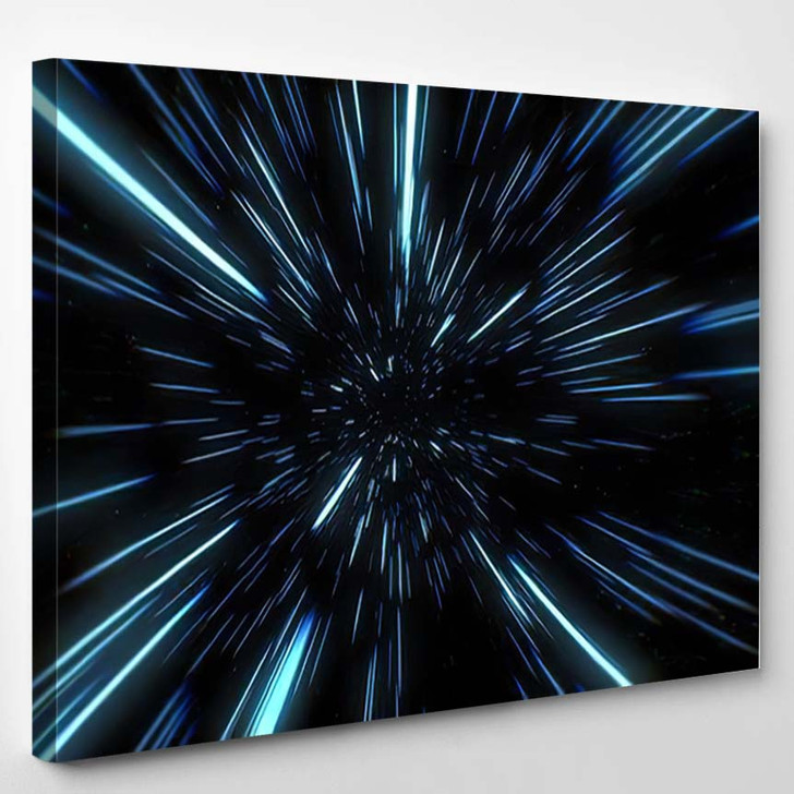 Abstract Warp Hyperspace Motion Blue Star - Galaxy Sky and Space Canvas Art Print