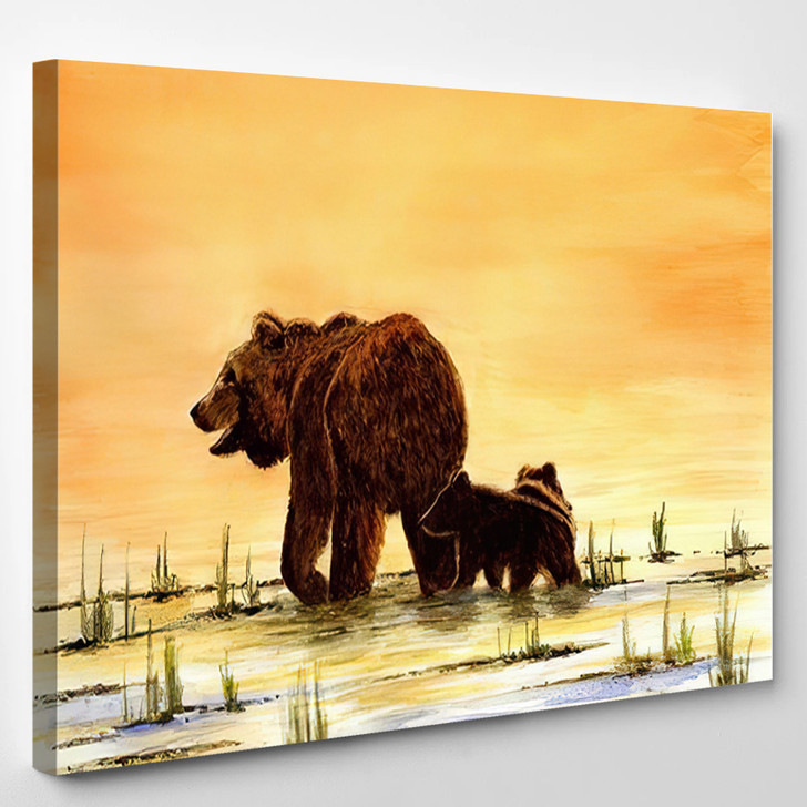 Grizzly Bears Mother Cubs - Bear Animals Canvas Art Print