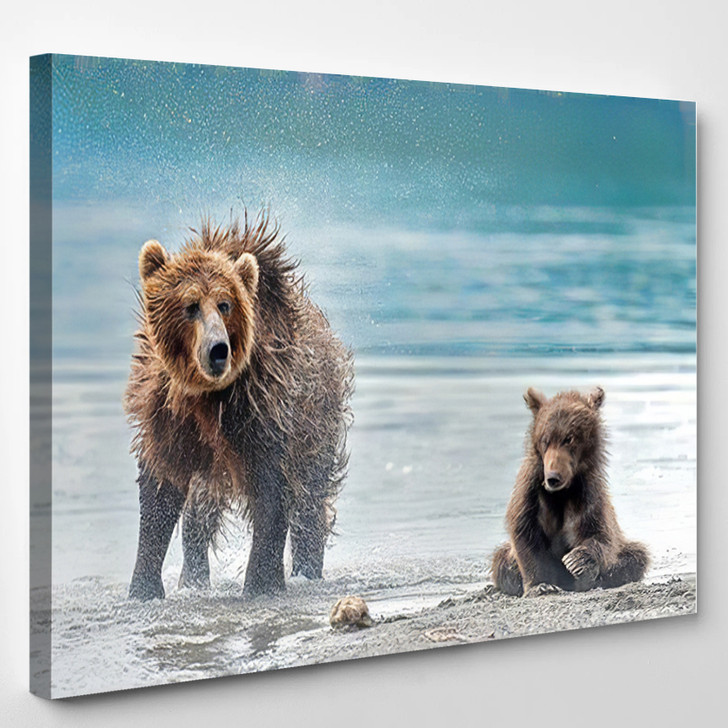 Mother Bear Squirts Her Puppy Kamchatka - Bear Animals Canvas Art Print