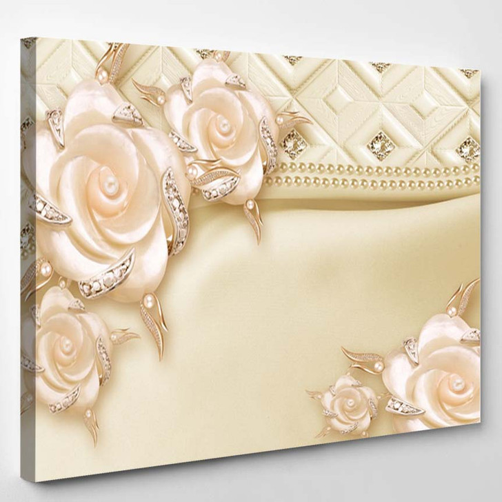 3D Pink Flowers Luxury Wallpaper - Canvas Art Print