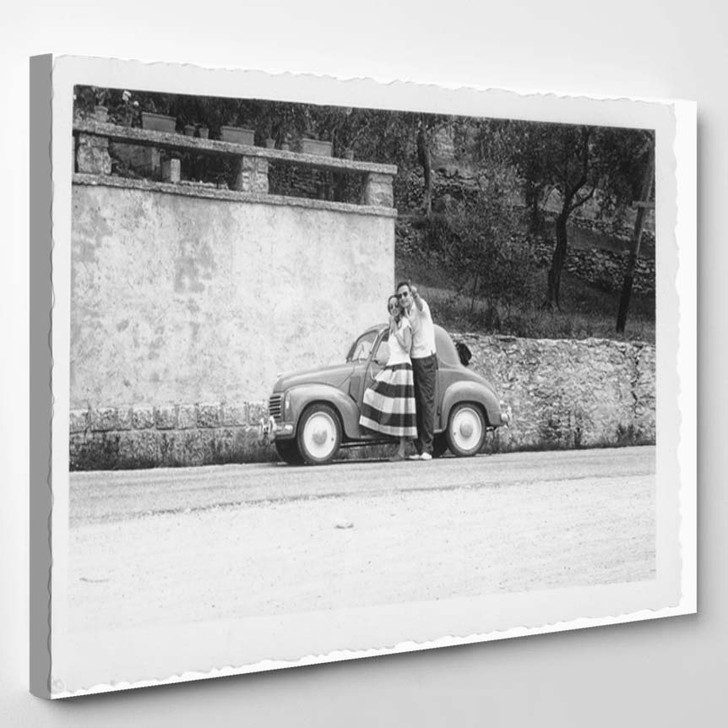 1950 Happy Young Couple Car - Canvas Art Print