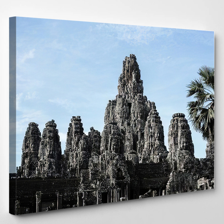 1 September 2019 Siemreap Cambodia Bayon - Landmarks and Monuments Canvas Art Print