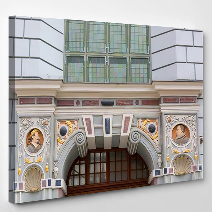 14Th Century Artus Court On Long - Landmarks and Monuments Canvas Art Print