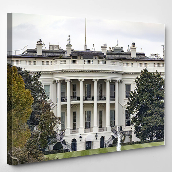 1600 Pennsylvania Avenue Washington Dc White - Landmarks and Monuments Canvas Art Print