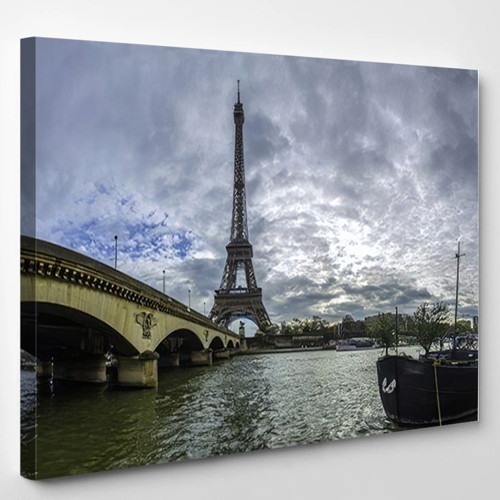 18 Mpx Panoramic View Eiffel Tower - Landmarks and Monuments Canvas Art Print