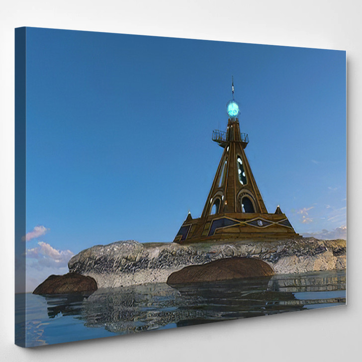 3D Cg Rendering Lighthouse - Landmarks and Monuments Canvas Art Print