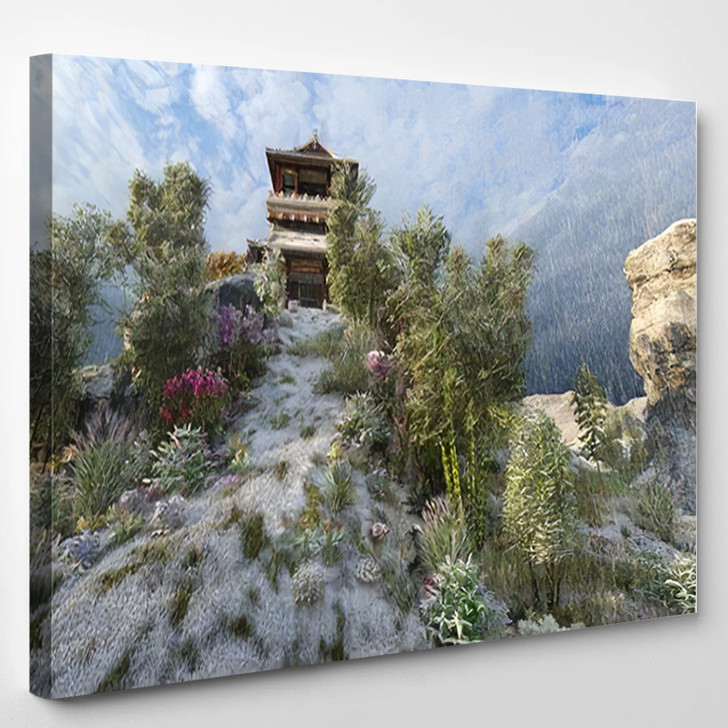 3D Image Chinese Building Pagoda On - Landmarks and Monuments Canvas Art Print