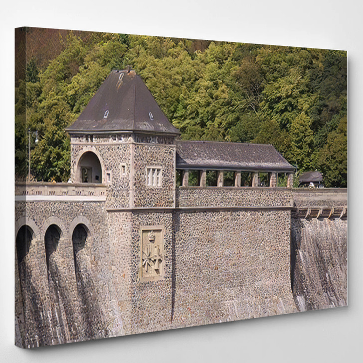 46 Meters High Dam Lake Eder - Landmarks and Monuments Canvas Art Print