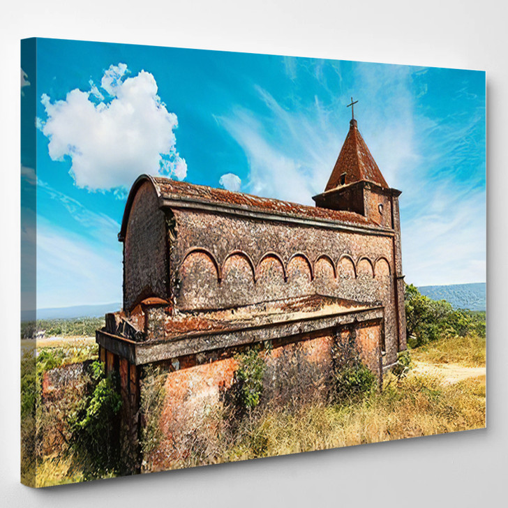 Abandoned Christian Church On Top Bokor - Landmarks and Monuments Canvas Art Print