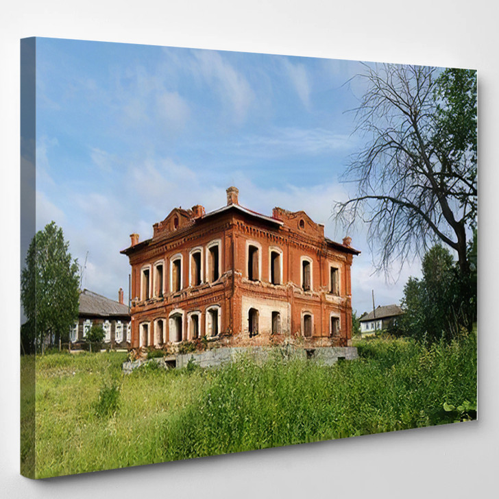 Abandoned Historical Residential House Courtyard Overgrown - Landmarks and Monuments Canvas Art Print