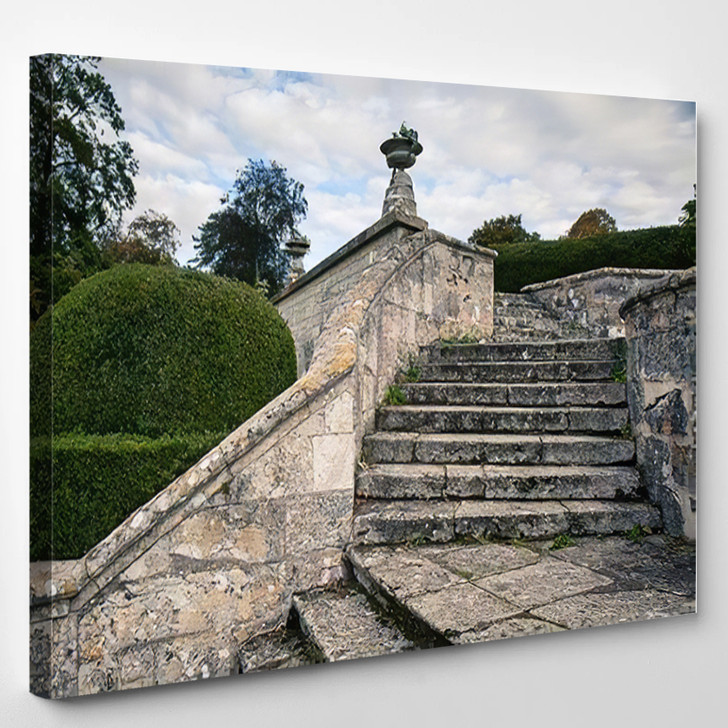 Abbey Jumieges Autumn Old Stone Staircase - Landmarks and Monuments Canvas Art Print