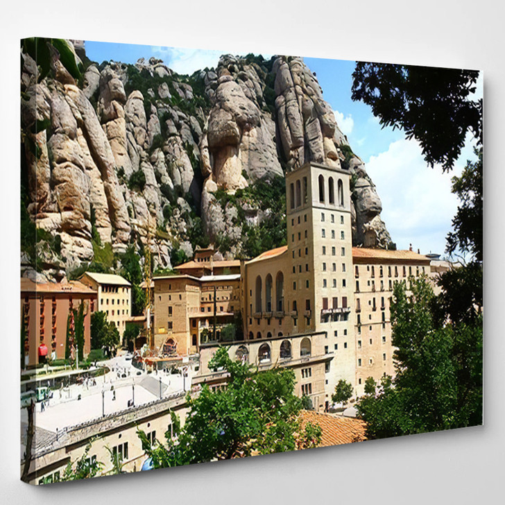 Abbey Montserrat Spain Mighty Mountain Basilica - Landmarks and Monuments Canvas Art Print
