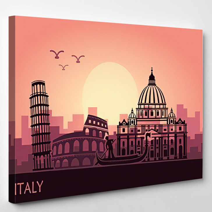 Abstract Italian Cityscape Silhouettes Sights Sunset - Landmarks and Monuments Canvas Art Print