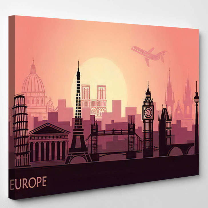 Abstract Urban Landscape Sights Europe Sunset - Landmarks and Monuments Canvas Art Print
