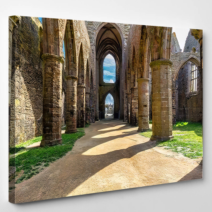 Abbaye Saintmathieu De Fineterre Brittany Bretagne - Landmarks and Monuments Canvas Art Print