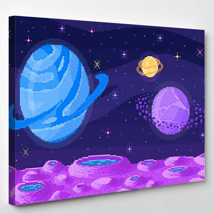 Space Planet Pixel Art Background Crater - Galaxy Sky and Space Canvas Art Print