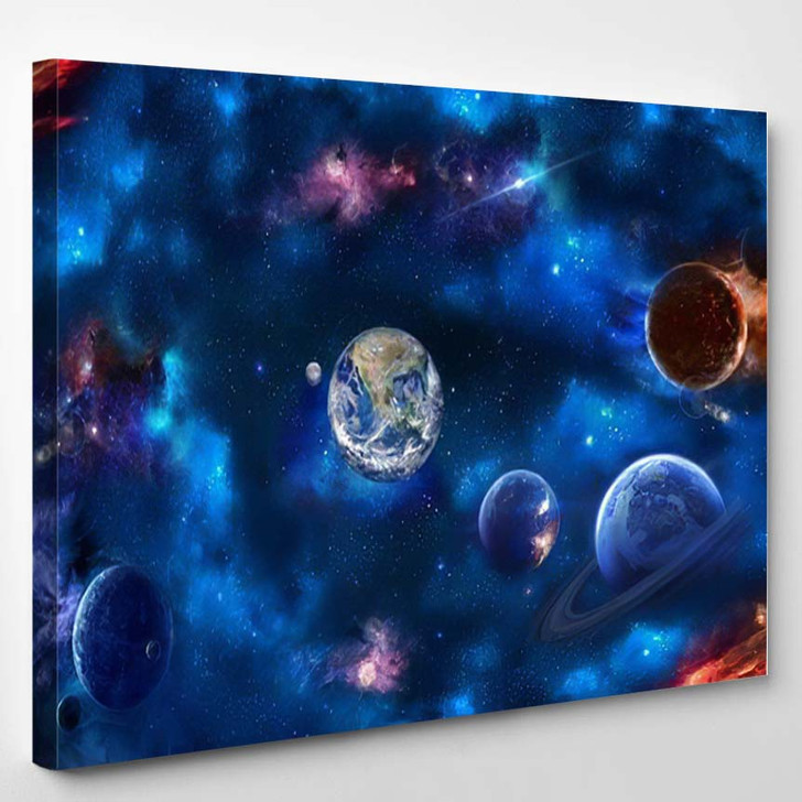 Space Scene Planets Stars Galaxies Height 1 - Galaxy Sky and Space Canvas Art Print