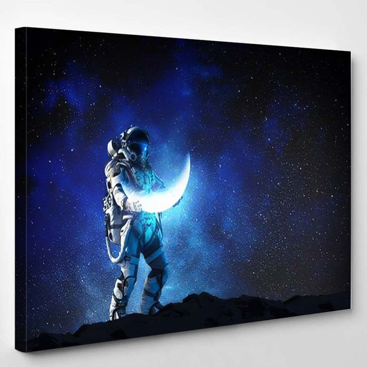 Spaceman Carrying His Mission Mixed Medi A1 - Galaxy Sky and Space Canvas Art Print