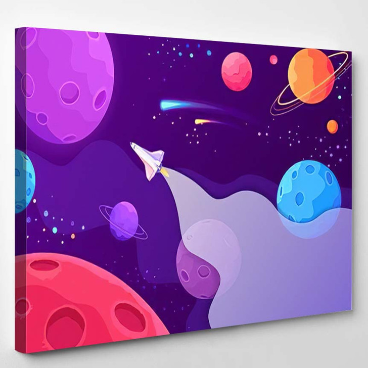 Spaceship Travel New Planets Galaxies Space - Galaxy Sky and Space Canvas Art Print