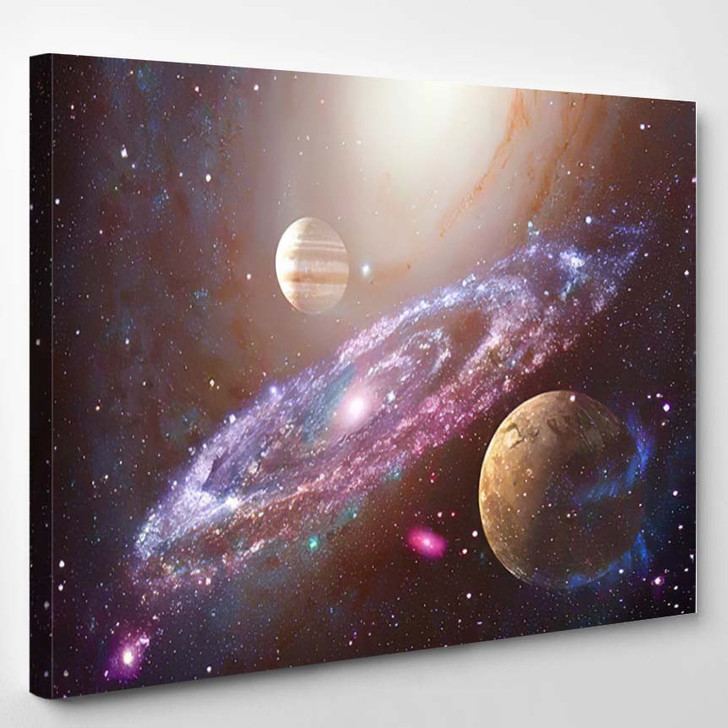 Spiral Galaxy Planet Outer Space Elements 1 - Galaxy Sky and Space Canvas Art Print