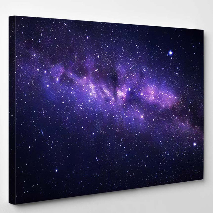 Vector Illustration Night Starry Sky Milky - Galaxy Sky and Space Canvas Art Print