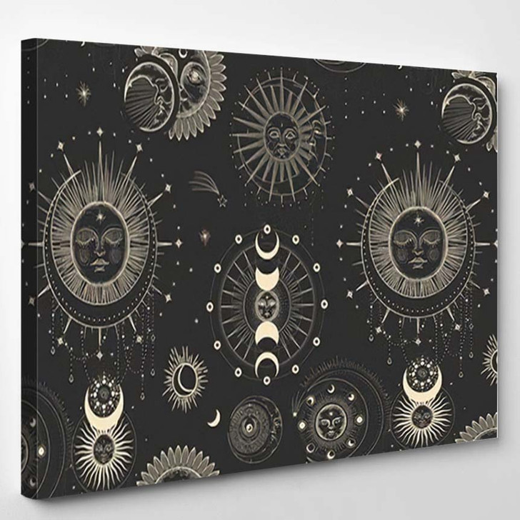 Vector Illustration Set Moon Phases Different 2 - Galaxy Sky and Space Canvas Art Print