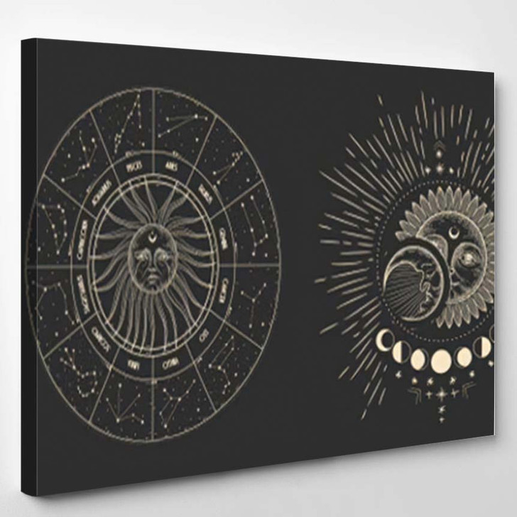 Vector Illustration Set Moon Phases Different 14 - Galaxy Sky and Space Canvas Art Print