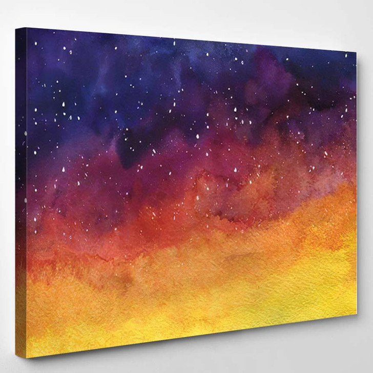 Watercor Background Space Nebula Night Star 1 - Galaxy Sky and Space Canvas Art Print