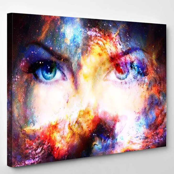 Woman Eyes Cosmic Background Eye Contact - Galaxy Sky and Space Canvas Art Print