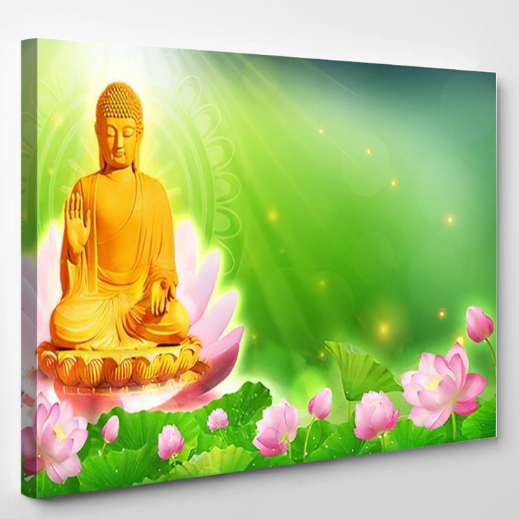 3D Illustration Buddha Sat Lotus Flower 1 - Buddha Religion Canvas Art Print