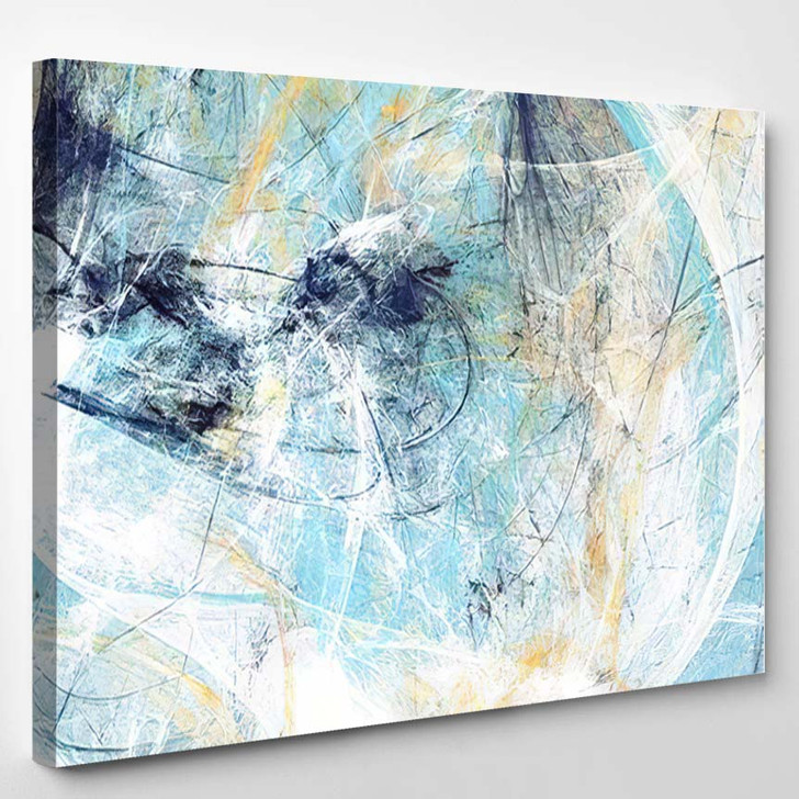 Abstract Beautiful Blue White Soft Color - Paintings Canvas Art Print