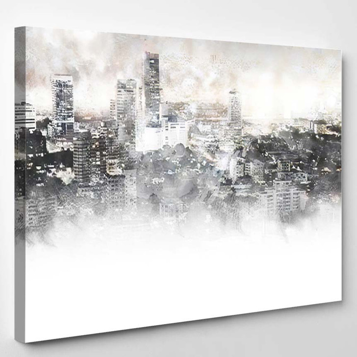 Abstract Beautiful Building Capital On Watercolor - Paintings Canvas Art Print