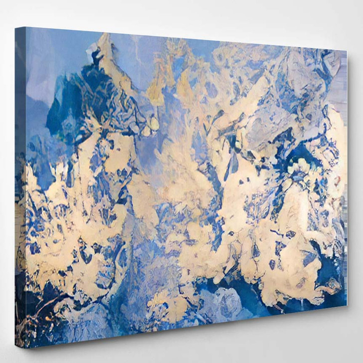 Abstract Blue Gold Water Color - Paintings Canvas Art Print
