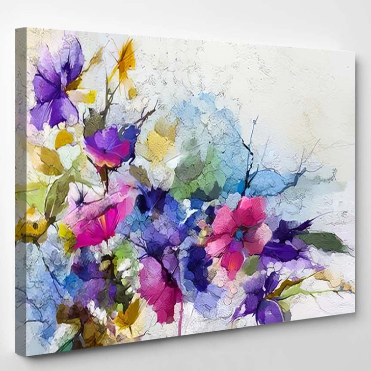 Abstract Colorful Oil Acrylic Painting Spring - Paintings Canvas Art Print