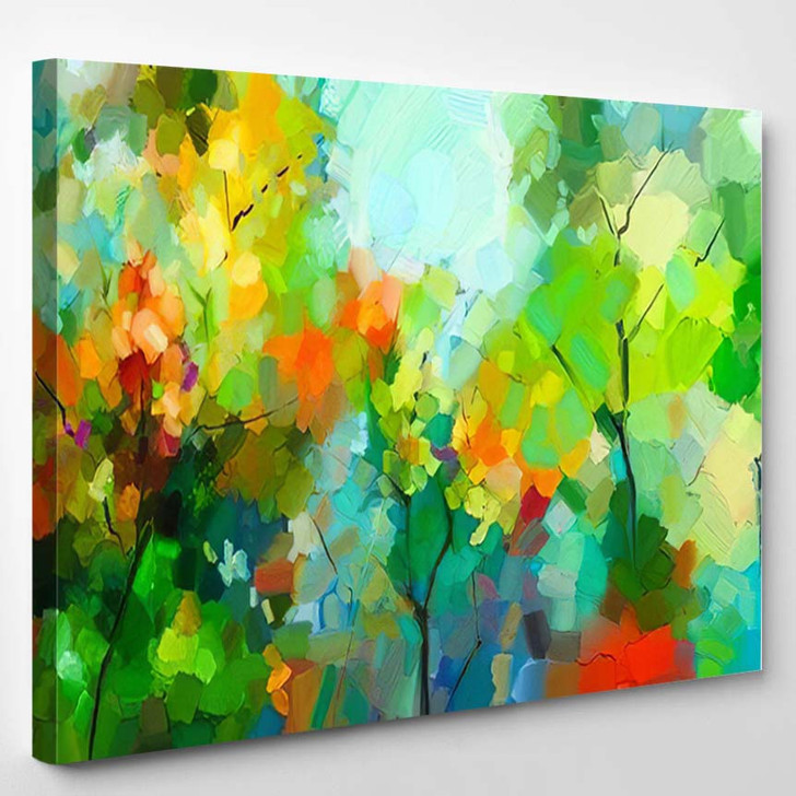Abstract Colorful Oil Painting Landscape On - Paintings Canvas Art Print