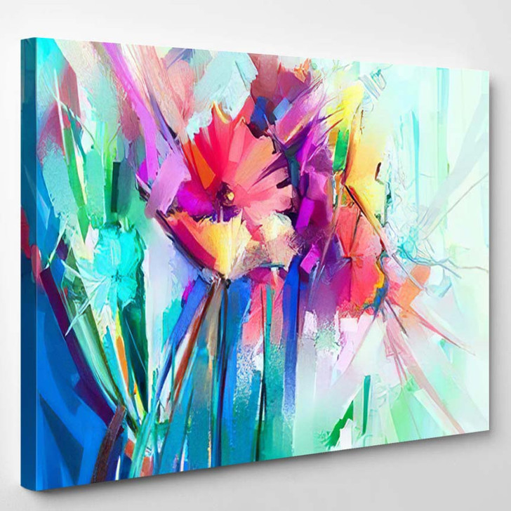 Abstract Colorful Oil Painting On Canvas 6 - Paintings Canvas Art Print