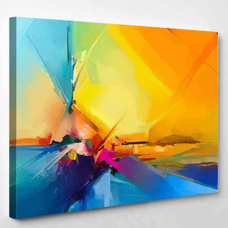 Abstract Colorful Oil Painting On Canvas 1 1 - Paintings Canvas Art Print
