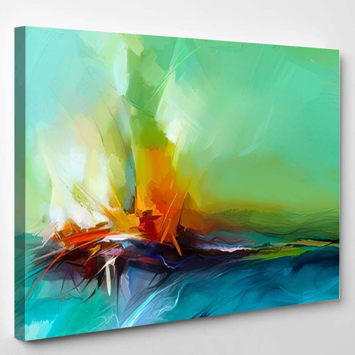 Abstract Colorful Oil Painting On Canvas 2 1 - Paintings Canvas Art Print
