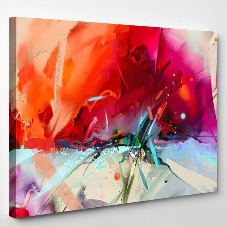 Abstract Colorful Oil Painting On Canvas 3 1 - Paintings Canvas Art Print