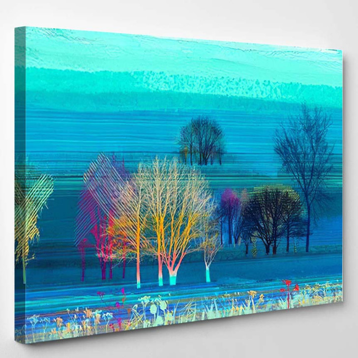 Abstract Colorful Oil Painting On Canvas 7 - Paintings Canvas Art Print