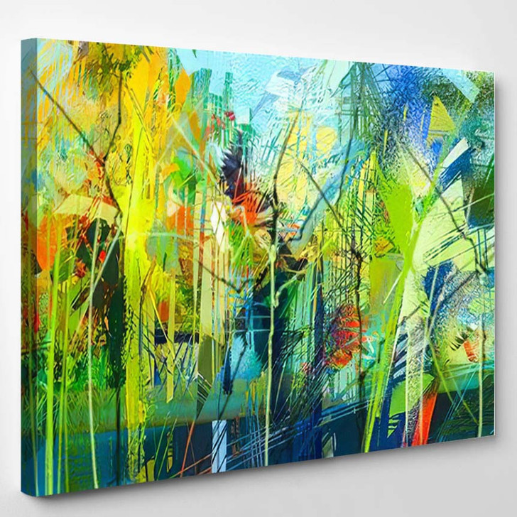 Abstract Colorful Oil Painting On Canvas 12 - Paintings Canvas Art Print