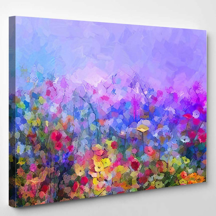 Abstract Colorful Oil Painting Purple Cosmos 1 - Paintings Canvas Art Print