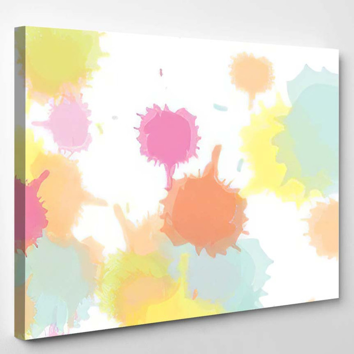 Abstract Colorful Pink Watercolor Paint Brush - Paintings Canvas Art Print