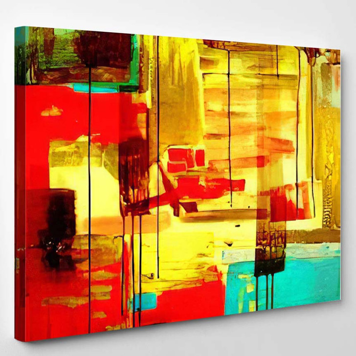 Abstract Hand Draw Acrylic Painting Composition - Paintings Canvas Art Print